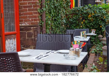 Outdoor dining at a small village restaurant