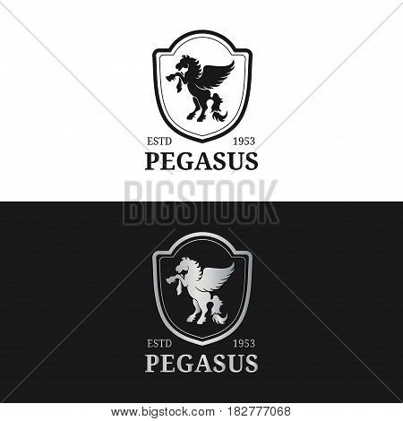 Vector monogram logo template. Luxury pegasus design. Graceful vintage animal. Used for hotel, restaurant, boutique, jewellery invitation, business card etc.