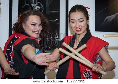 Moscow, Russia - April 21, 2017: Taiko Drummers Girls From The