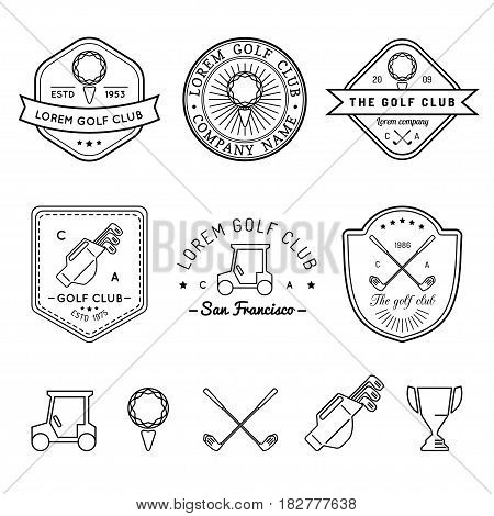 Vector golf logo set. Sports club linear illustrations collection for icons, badges and labels.