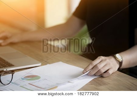 Woman Analysis Business Report. Accounting with vintage effect.