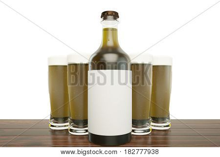 Close up of light beer bottle with blank label and full glasses on white background. Ad concept. Mock up 3D Rendering