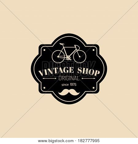 Vector vintage hipster bicycle logo. Modern velocipede emblem for card templates, shop, company advertising poster, banner.