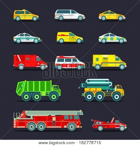 Town municipal different special, emergency service cars and trucks icons collection. Vector city transport set in flat style. Urban vehicles infographics.