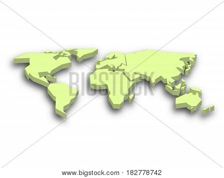 Green 3D map of world with dropped shadow on background. Worldwide theme wallpaper. Rendered three-dimensional EPS10 vector illustration.