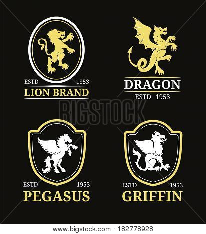 Vector crest monogram templates. Luxury pegasus, dragon, lion, griffin design. Graceful animals silhouettes illustrations. Used for hotel, restaurant, boutique, jewellery invitation, business card etc