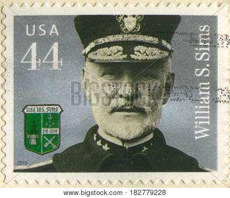 GOMEL, BELARUS, APRIL 21, 2017. Stamp printed in USA shows image of  The William Sowden Sims (October 15, 1858 - September 25, 1936) was an admiral in the United States Navy, circa 2010.