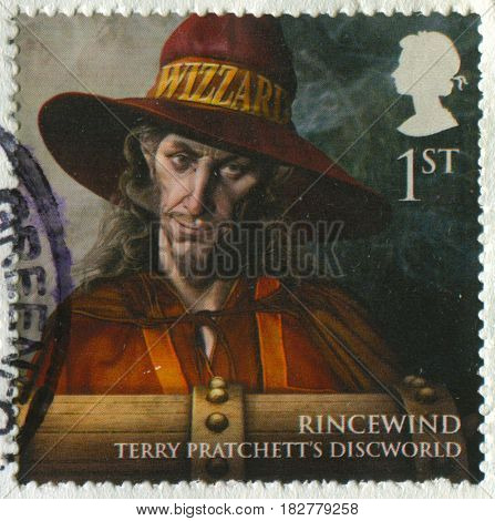 GOMEL, BELARUS, APRIL 21, 2017. Stamp printed in UK shows image of  The Rincewind Terry Pratchett's Discworld, circa 2000.