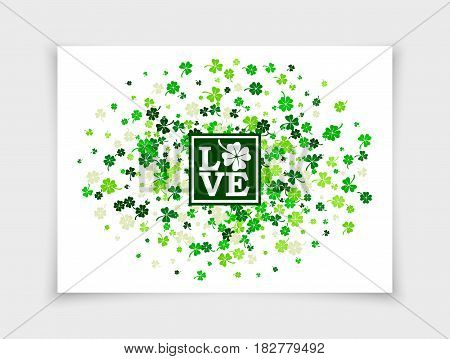 Four leafs clovers and shamrocks scattered on white paper background in oval form for Saint Patrick's Day. Vector illustration. Isolated