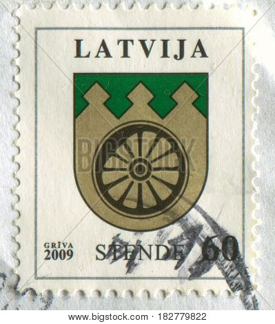 GOMEL, BELARUS, APRIL 21, 2017. Stamp printed in Latvia shows image of The Coat of arms Stende, circa 2009.