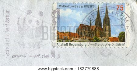 GOMEL, BELARUS, APRIL 20, 2017. Stamp printed in Germany shows image of  The Altstadt Regenburg, circa 2011.
