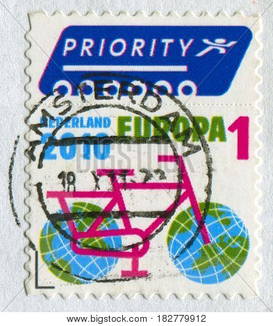 GOMEL, BELARUS, APRIL 21, 2017. Stamp printed in NEDERLAND shows image of  The Bicycle, circa 2010.