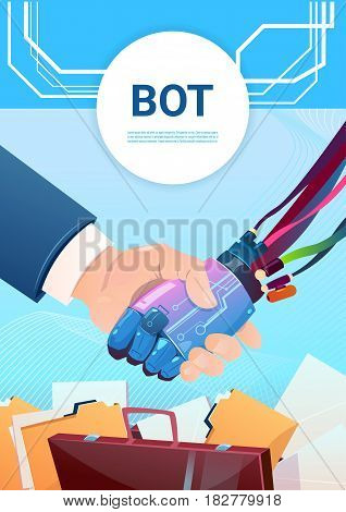 Chat Bot Hand Shaking With People Robot Virtual Assistance Of Website Or Mobile Applications, Artificial Intelligence Concept Flat Vector Illustration