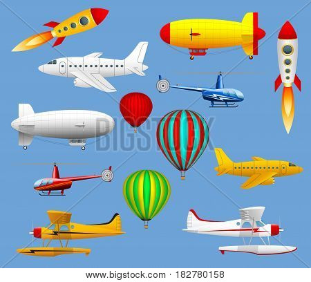 Set of different types of air transport. Airplanes, helicopters, balloons and zeppelins. Vector illustration.