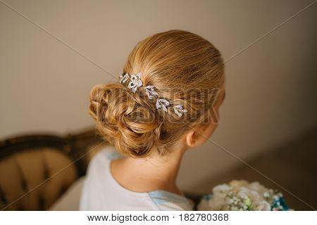 Woman's hair, curls close-up. The bride's hair.