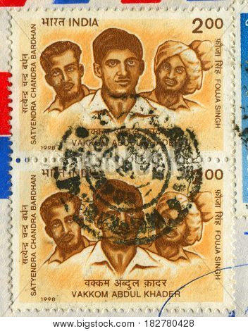 GOMEL, BELARUS, APRIL 20, 2017. Stamp printed in India shows image of  The Abdul Khader, better known by his stage name Prem Nazir, was an Indian film actor, circa 1998.