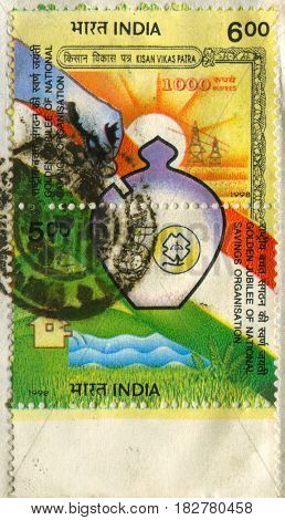 GOMEL, BELARUS, APRIL 20, 2017. Stamp printed in India shows image of  The Golden jublee of national savins organisation, circa 1998.