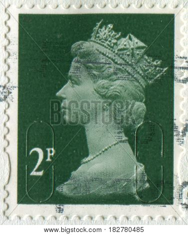 GOMEL, BELARUS, APRIL 20, 2017. Stamp printed in UK shows image of  The Elizabeth II has been Queen of the United Kingdom, Canada, Australia, and New Zealand, circa 2000.