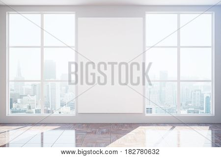 Unfurnished interior with city view sunlight and blank banner. Mock up 3D Rendering