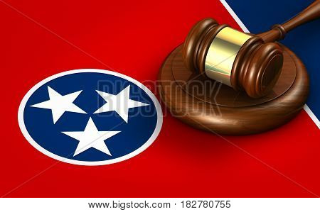 Tennessee US state law legal system and justice concept with a 3D rendering of a gavel on Tennessean flag.