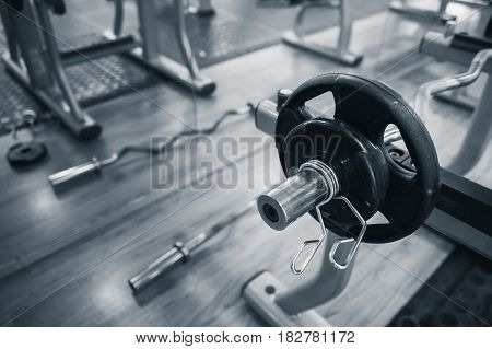 Gym. Barbell for workout. Heavy discs for muscular training.