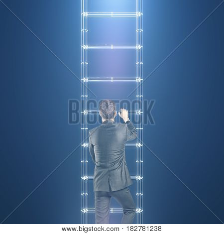 Back view of young businessman climbing abstract digital ladder on blue background. Success concept