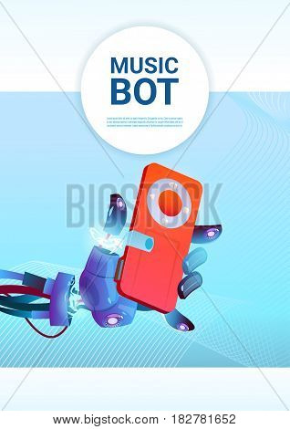 Chat Bot Music Robot Virtual Assistance Of Website Or Mobile Applications, Artificial Intelligence Concept Flat Vector Illustration