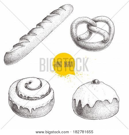 Hand drawn sketch style bakery goods illustrations set isolated on white background. Fresh salted pretzel french baguette iced cinnamon bun and iced bun with cherry. Daily product. Fresh-baked bread.
