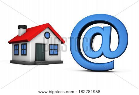 Small house model icon and at symbol online property and real estate agency concept 3D illustration on white background.