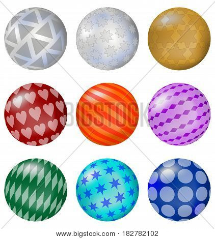 Set of colorful glossy balls with patterns 3d decorative sphere design element