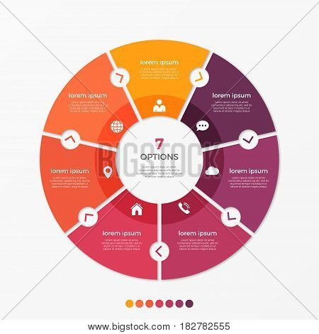 Circle chart infographic template with 7 options for presentations, advertising, layouts, annual reports. Vector illustration.