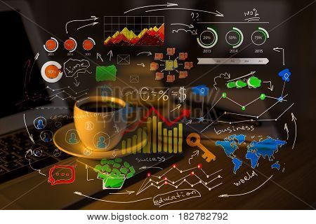 Close up of workplace with laptop coffee cup and abstract business sketch. Success concept