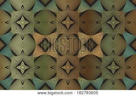 Seamless abstract texture of wavy intertwining lines in yellow, green