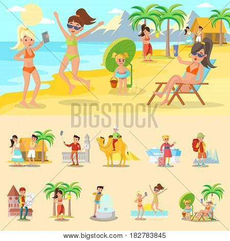 Happy people on vacation concept with beach rest backpacking and sightseeing tours vector illustration