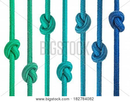 Group Of Ropes With Knots In A Row