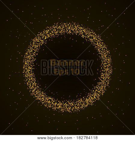 Banner of fine gold particles. Beautiful glowing background for the holiday. Small stars on a dark background. Bright particles in motion. Vector illustration. EPS 10