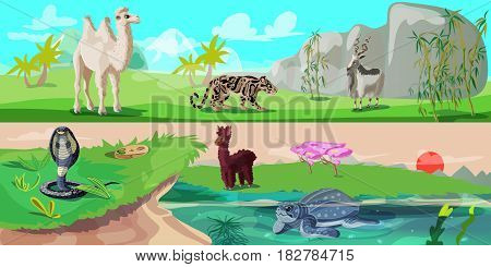 Colorful asian animals horizontal banners with camel panther wild goat snake lama and turtle on nature landscape vector illustration