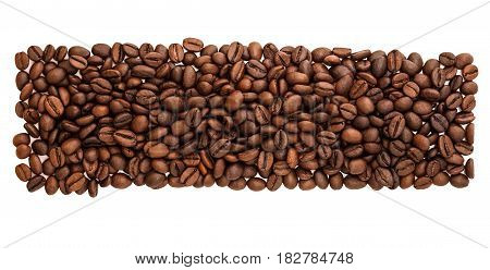 panorama grains coffee isolated on a white background. panoramic view. roasting bean coffe close up