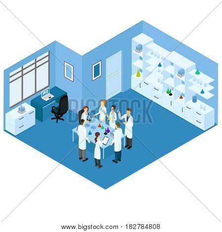 Isometric science laboratory concept with group of scientists standing around table and doing research vector illustration