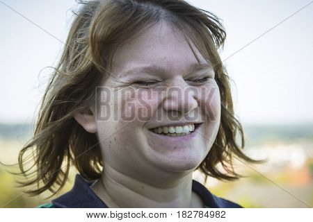 Portrait from natural woman with closed eyes - Outdoor Shot