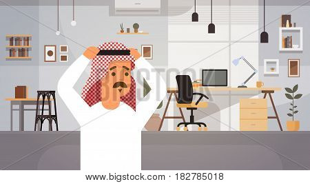 Arab Business Man Holding Head Problem Concept Entrepreneur In Modern Office Flat Vector Illustration