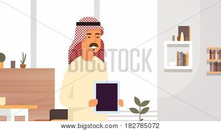 Arab Business Man Holding Empty Tablet Computer Entrepreneur In Modern Office Flat Vector Illustration