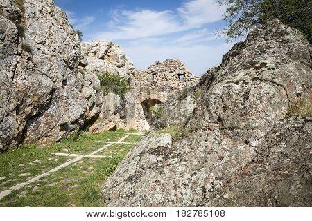Puerta de la Albacara of Peñas Negras castle in Mora (Toledo), Toledo province, Castilla-La Mancha, Spain