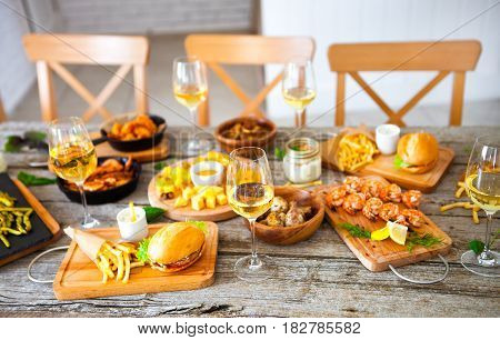 Food And Drink Table, Enjoying Dinning Eating Concept