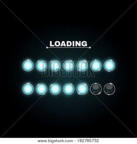 Loading. Realistic round lamps are blue. Neon flashlights glow in the dark. Beautiful glow. Realistic vector illustration for web. Metal structure of the bulb. New technologies. EPS 10