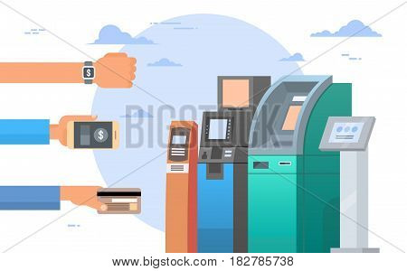 Hands Holding Credit Card And Cell Smart Phones Atm Terminal Machine Mobile Payment Concept Flat Vector Illustration