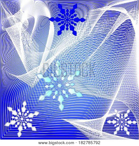 Abstract christmas winter background with fine white mesh and snowflakes on the dark blue area