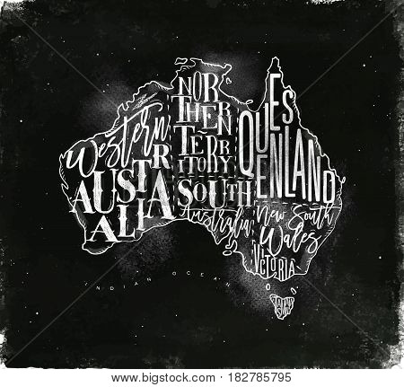 Vintage australia map with regions inscription western northern south australia queensland victoria tasmania drawing with chalk on chalkboard background