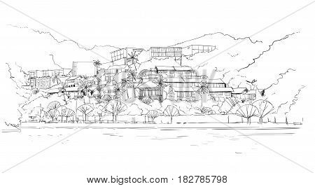 Real Estate Silhouette Big Modern Villa House In Tropical Forest Skecth Vector Illustration