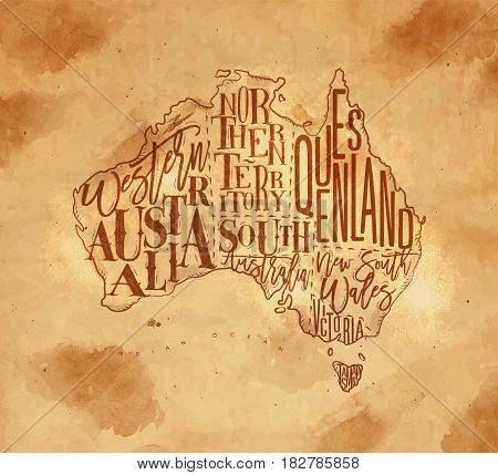 Vintage australia map with regions inscriptionwestern northern south australia queensland victoria tasmania drawing on craft background